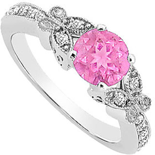 Superb Pink Sapphire And Diamond Engagement Ring With 14K White Gold Design 4
