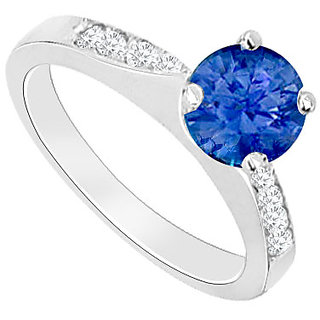 Sublime With 14K White Gold Sapphire And Diamond Engagement Ring