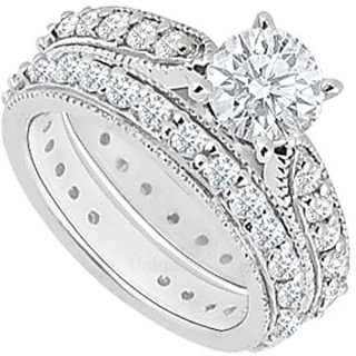 Superb With 14K White Gold Diamond Engagement Ring With Wedding Band Set