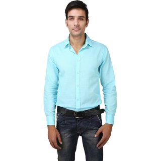 Jain's Men's Casual Sky Blue Shirt