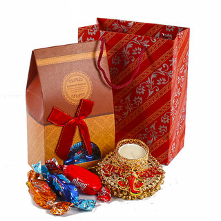 Traditional Designer Diya Hamper with Imported Chocolates