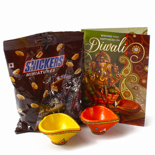 Pack of Snickers Minature Chocolates with Earthen Diyas