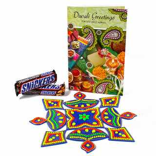 Two Bars of Sincker Chocolates with Diwali Rangoli and Card
