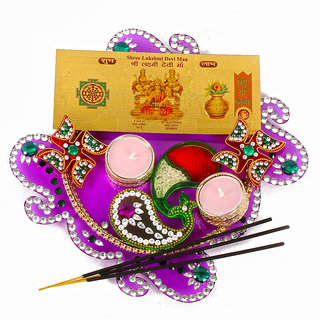 Acrylic Diwali Thali with Metal Tealight Diya Included Gold Plated Lakshmi Note