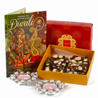 Sugarfree Assorted Dryfruit Sweet with Metal Diya and Greeting Card