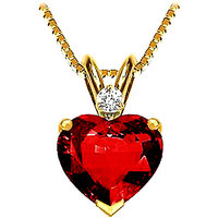 Sanskruti's Diamond & Lab Created Ruby Heart Shaped Pendant - SAN111