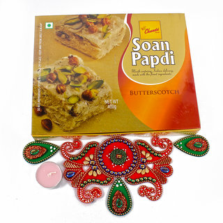 Exclusive Rangoli Gift Hamper with Butterscotch Soan Papdi