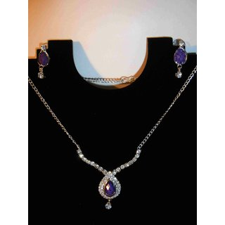 Silver Purple Stone Necklace