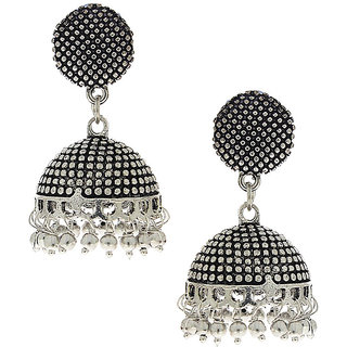 Anuradha Art Silver Finsih Classy Designer Jhumki Styled Earrings For Women/Girls