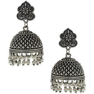 Anuradha Art Presenting Silver Oxide Finish Classy Jhumki Earrings For Women/Girls