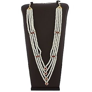 Anuradha Art Maroon Colour Styled With Sparkling Classy White Colour Stone Traditional Long Necklace For Women/Girls