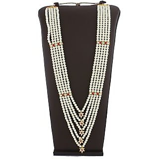 Anuradha Art White-Pink Colour Styled With Multiple Classy Traditional Long Necklace For Women/Girls