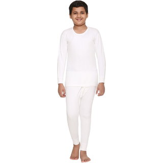 Vimal Winter King Blended White Thermal Top & Pyjama Set For Boys