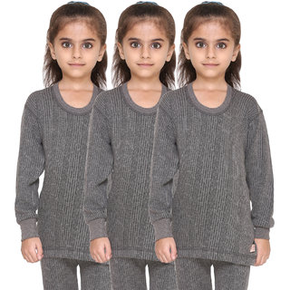 Vimal Premium Blended Grey Thermal Top For Girls(Pack Of 3)