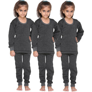 Vimal Premium Blended Black Thermal Top&Bottom Set For Girls(Pack Of 3)