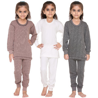 Vimal Premium Blended Multicolor Thermal Top&Bottom Set For Girls(Pack Of 3)