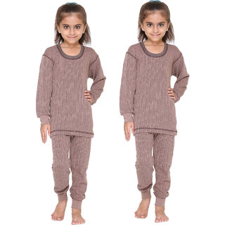 Vimal Premium Blended Brown Thermal Top&Bottom Set For Girls(Pack Of 2)