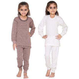 Vimal Premium Blended Multicolor Thermal Top&Bottom Set For Girls(Pack Of 2)