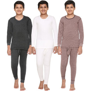 Vimal Premium Blended Multicolor Thermal Top&Bottom Set For Boys(Pack Of 3)