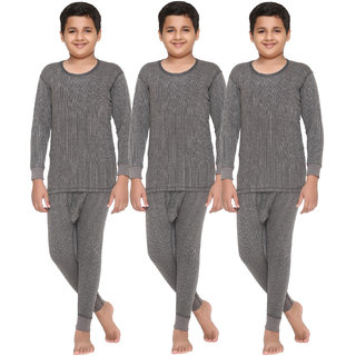 Vimal Premium Blended Grey Thermal Top&Bottom Set For Boys(Pack Of 3)