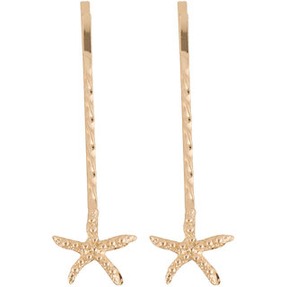 Jazz Jewellery Set Of 2 Gold Toned Star Fish Shaped Hair Pins For Women and Girls