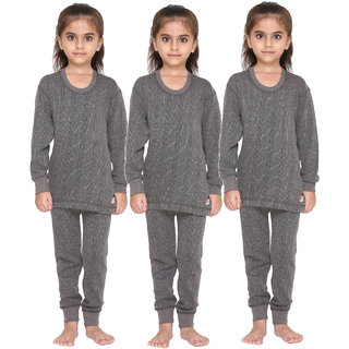 Vimal Premium Blended Grey Thermal Top&Bottom Set For Girls(Pack Of 3)