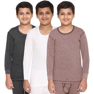 Vimal Premium Blended Multicolor Thermal Top For Boys(Pack Of 3)