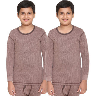 Vimal Premium Blended Brown Thermal Top For Boys(Pack Of 2)