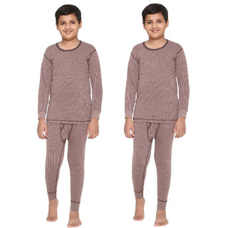 Vimal Premium Blended Brown Thermal Top&Bottom Set For Boys(Pack Of 2)
