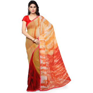 Sareemall Yellow & Red Printed Georgette Saree With Unstitched Blouse