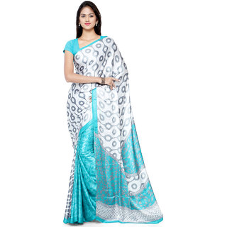 Sareemall Grey & Sky Blue Printed Crepe Saree With Unstitched Blouse