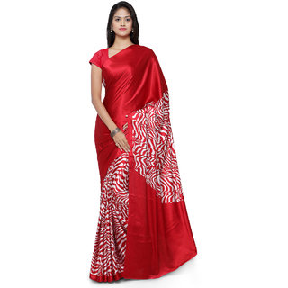 Sareemall Maroon Printed Crepe Saree With Unstitched Blouse