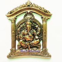 BWHG123 Black Metal Wall Hanging Of Lord Ganesha(22x27cm,550gm Approx)