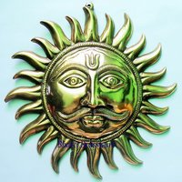 BWHG121  Black Metal Wall Hanging Of Sun Face(39c39cm,900gm Approx)