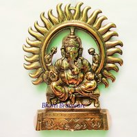 BWHG118 Black Metal Wall Hanging Of Lord Ganesha(22X27CM,450gm Approx)