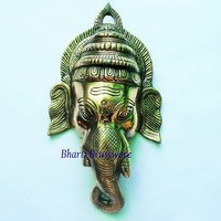 BWHG125 Black Metal Wall Hanging Of Ganesha(27x31cm,600gm Approx)