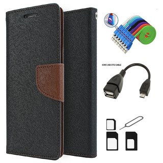 Mercury Diary Wallet Style Flip Cover Case for Samsung Galaxy J1 Ace (BROWN)  + Nano Sim Adapter + Micro USB OTG Cable + Micro USB Charging Cable Combo Set