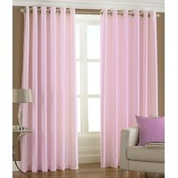 Handloomdaddy Pack Of 2 Plain Silky Door Curtain (light Pink)