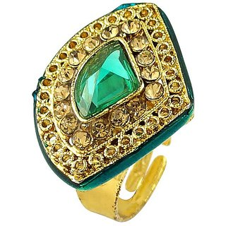 Gold Plated Ethnic Style Simulated Stone Womens Rings Jewelry RG-0227