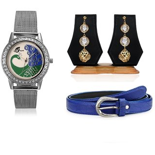 Arum Latest Combo Of Silver Peacock Watch With Fashion Crystal String Earrings  And Blue Belt	ALC-017