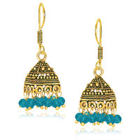 Spargz Classic Oxidized Gold Plating Blue Beads Jhumka Earring For Women AIER 655