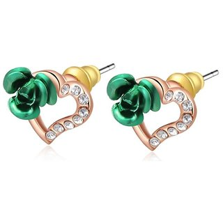 Kaizer Green Peach Heart Rose Gold Plated Earrings