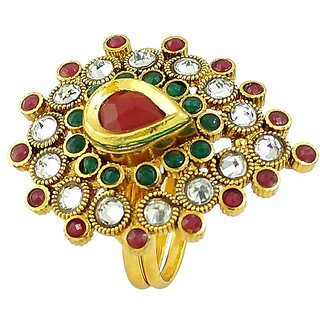Emearld Ruby Stone Simulated Gold Plated Alloy Matel Rings Jewelry RG-0237