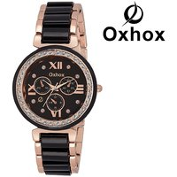 Oxhox OXL 484 BLACK CHRONOGRAPH PATTERN Analog Watch - For Women