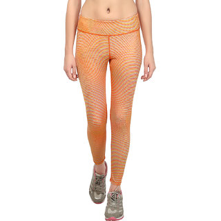 Fitrr Orange and Yellow Geometric Print Sports and Yoga Wear Women's Tights