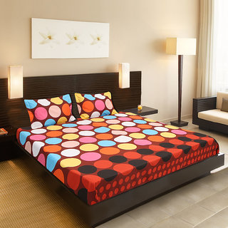 Valtellina India beautiful design 1 Double bedsheet  2 pillow covers