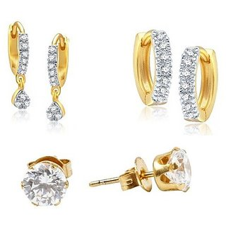 Pchalk High Quality Combo Gold  Earring Set Of 3