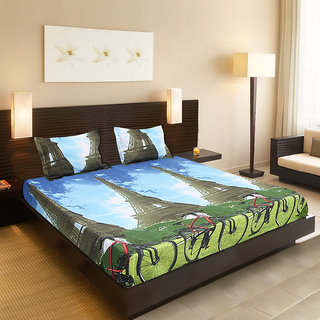 Valtellina India Cycle design 1 Double bedsheet  2 pillow covers