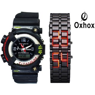 Oxhox Combo deal 2 Analog-Digital Watch - For Couple