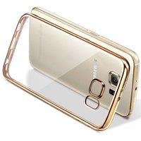 Gold Golden Edge Clear Soft Transparent Back Case Cover for Samsung J7 Prime